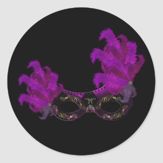 Feather Mask Masquerade Party Event Custom Classic Round Sticker