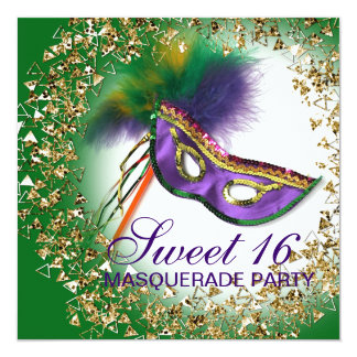 """Feather Mask Purple Sweet 16 Masquerade Party 5.25"""" Square Invitation Card"""