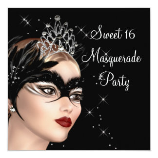 """Feather Mask Tiara Sweet 16 Masquerade Party 5.25"""" Square Invitation Card"""