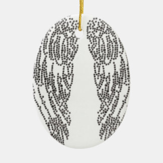 Feather of angel ceramic oval ornament