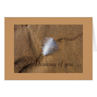 Feather on Sand Blank Thinking of You Card