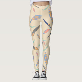 Feather pattern leggings
