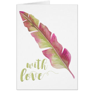 Feather, pink and green - Greeting Card