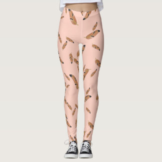 Feather print leggings, peach and brown feathers leggings