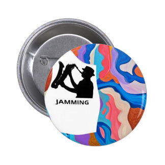 Feather Saxophone Jamming 2 Inch Round Button