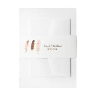 Feather Watercolor Belly Band Invitation Belly Band