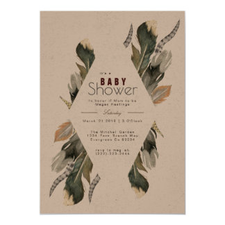 Feather Watercolor   Boho Baby Shower Invite