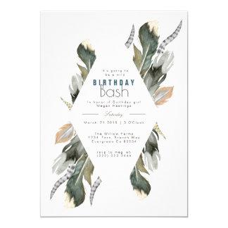 Feather Watercolor   Boho Birthday Invite