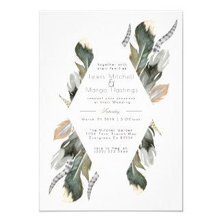 Feather Watercolor Diamond Overlay   Wedding Card
