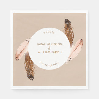 Feather Watercolor Luncheon Napkin Disposable Napkin