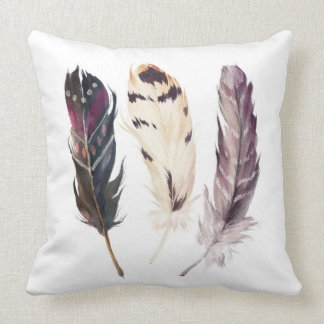 Feather Watercolor Native Pillow
