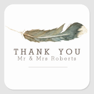 Feather Watercolor | Thank You Square Sticker