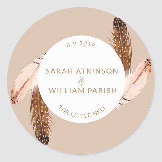 Feather Watercolor Wedding Sticker