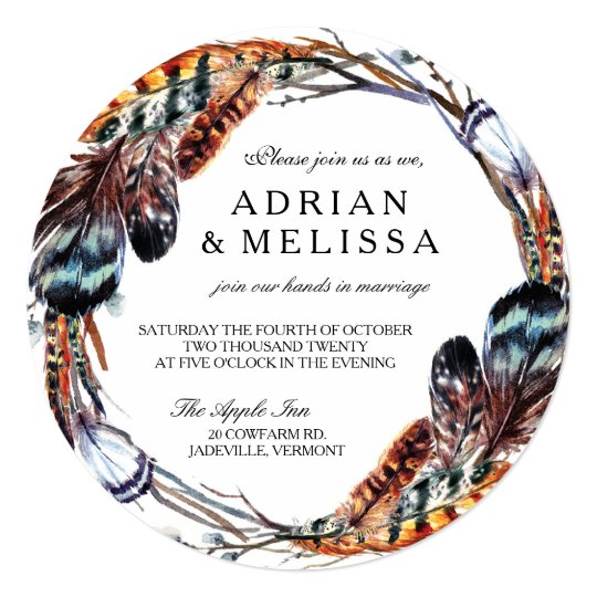 Feather Wedding Invitation 5.25 x 5.25 Circle