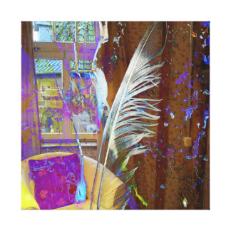 Feather with chair still life canvas print