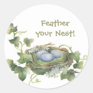 Feather Your Nest Bird Nest Stickers