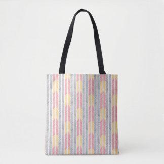 feathered arrow print tote bag