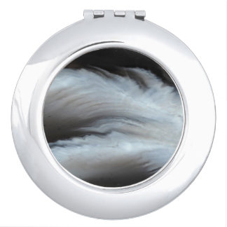 Feathered Black Agate cool natural stone Compact Mirrors