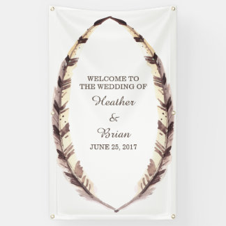 Feathered Border Wedding Banner