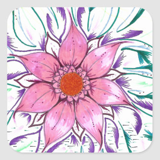 Feathered Flower Square Sticker