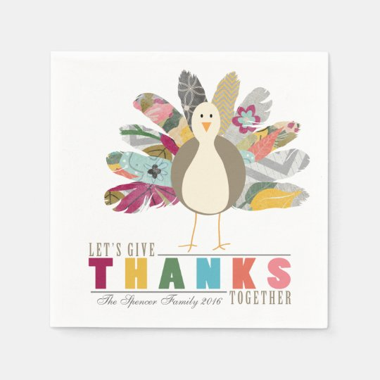 Feathered Friend Personalized Thanksgiving Napkins Disposable Napkin