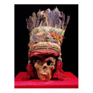 Feathered headdress on a skull, from Peru Postcard