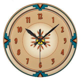 Feathered Kachina Sun Face Large Clock