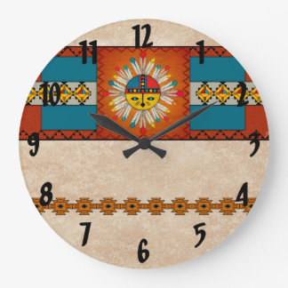 Feathered Katsina (Kachina) Sun Face Large Clock