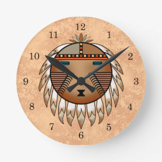 Feathered Katsina (Kachina) Sun Face Round Clock