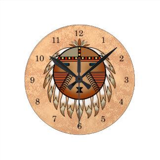 Feathered Katsina (Kachina) Sun Face Wall Clocks