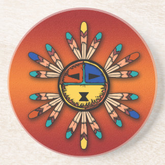 Feathered Katsina Sun Face Coaster