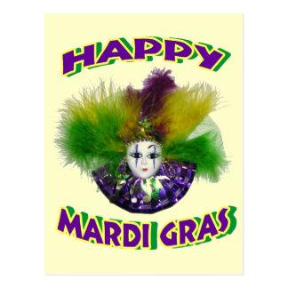 Feathered Mardi Gras Mask Postcard