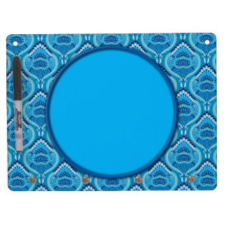 Feathered Paisley - Blueish Dry Erase Board With Keychain Holder