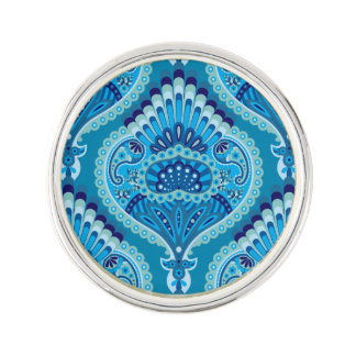 Feathered Paisley - Blueish Lapel Pin