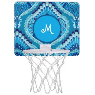 Feathered Paisley - Blueish Mini Basketball Hoop