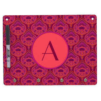 Feathered Paisley - Pinkoinko Dry Erase Board With Keychain Holder
