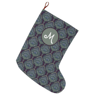 Feathered Paisley - Winter Forest Large Christmas Stocking