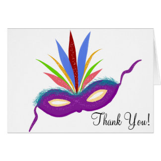 Feathered Purple Party Mask Thank You Cards