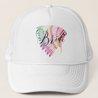 FEATHERED RAINBOW TRIBAL BRIDE TRUCKER HAT