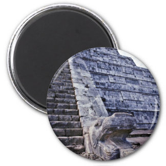 Feathered Serpent On El Castillo 2 Inch Round Magnet