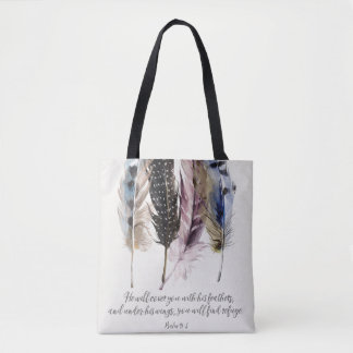 Feathers All Over Print Tote Bag