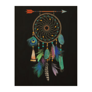 Feathers and Arrow   Dream Catcher   You Customize Wood Print