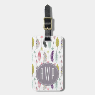 Feathers and Arrows Monogram Luggage Tag