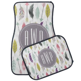 Feathers and Arrows Monogram Set of 4 Car Mats Car Floor Carpet