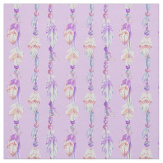 Feathers and beads watercolor art purple fabric