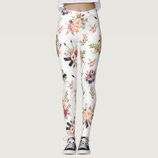 Feathers and Flowers print leggings