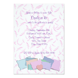 "Feathers and Pillows/ Birthday 5"" X 7"" Invitation Card"