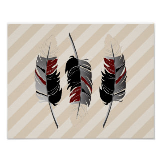 Feathers and Stripes  Cream, Maroon, Gray & Black Poster
