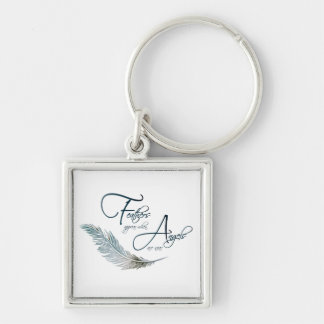 Feathers Appear When Angels Are Near Silver-Colored Square Keychain