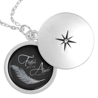 Feathers Appear When Angels Are Near Silver Plated Necklace
